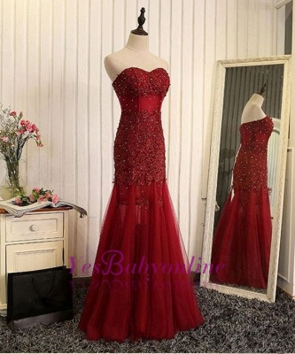 Beaded Brilliant Sweetheart  Sleeveless Mermaid Lace-Applique Prom Dresses_1