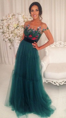 Appliques Tulle A-Line Green Short-Sleeves Prom Dresses_3