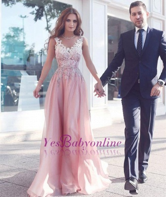 Pink Sleeveless Appliques  Floor-Length Evening Gowns_1
