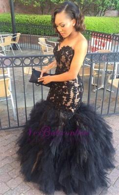 Black Sleeveless Tulle Lace Mermaid Sweetheart Ruffles Puffy Appliques Ptom Dress_1