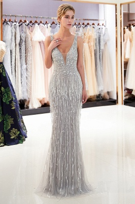 Glamorous Mermaid V-Neck Sleeveless Prom Dresses | 2019 Long Sequins Evening Gown With Tassels_2