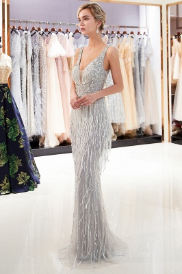 Glamorous Mermaid V-Neck Sleeveless Prom Dresses | 2019 Long Sequins Evening Gown With Tassels_3