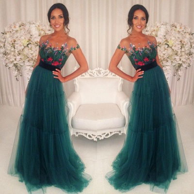 Appliques Tulle A-Line Green Short-Sleeves Prom Dresses_4