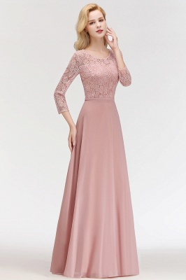 Simple Chiffon A-Line Bridesmaid Dresses | Scoop 3/4 Sleeves Lace Formal Prom Dresses_5