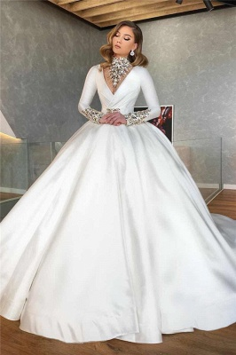 Long Sleeve Plunging Neckline Beading Ball Gown Wedding Dresses | Puffy Wedding Gown_1