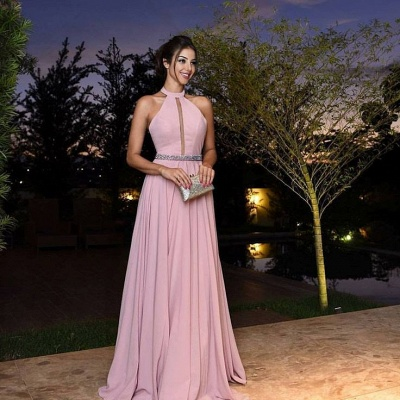 Elegant Pink Prom Dresses Halter Neck A-line Evening Gowns_3