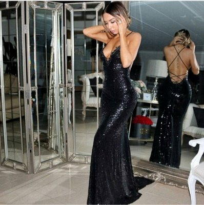 Mermaid Sleeveless Sexy Sweep-Train Black Sequined Prom Dress_3