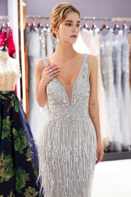 Glamorous Mermaid V-Neck Sleeveless Prom Dresses | 2019 Long Sequins Evening Gown With Tassels_4
