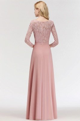 Simple Chiffon A-Line Bridesmaid Dresses | Scoop 3/4 Sleeves Lace Formal Prom Dresses_6