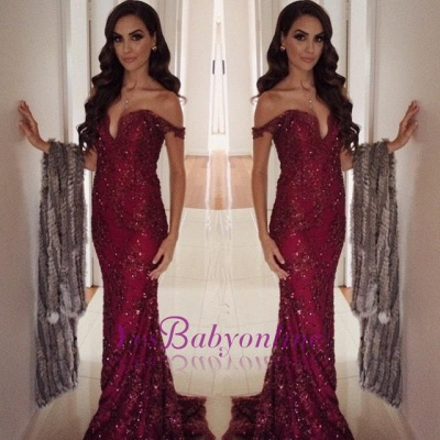 Burgundy Long Off-the-Shoulder Appliques Mermaid Prom Dress_1