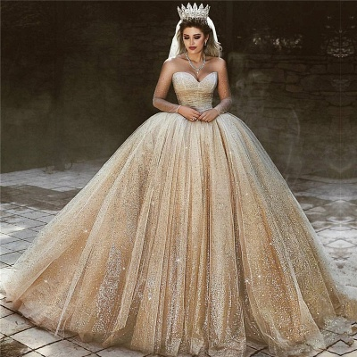 Charming Sparkling Gold Wedding Dresses | Sequined Princess Royal Bridal Dresses_3