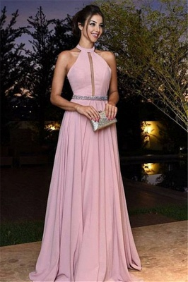 Elegant Pink Prom Dresses Halter Neck A-line Evening Gowns_2