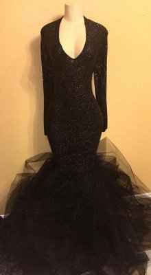 V-neck Long Sleeves Prom Dresses | Long Black Sequins Evening Gowns_1