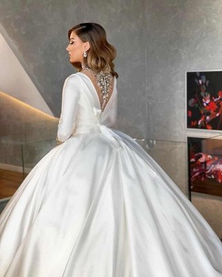 Long Sleeve Plunging Neckline Beading Ball Gown Wedding Dresses   Puffy Wedding Gown_3