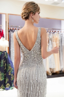 Glamorous Mermaid V-Neck Sleeveless Prom Dresses | 2019 Long Sequins Evening Gown With Tassels_5