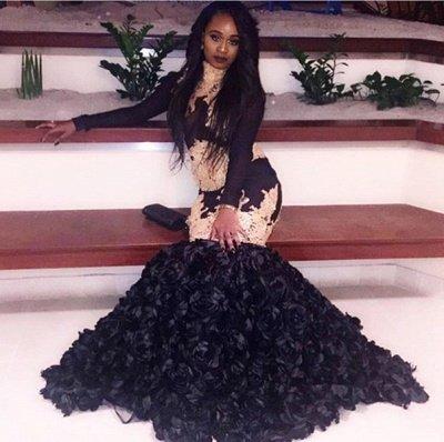 Glamorous Mermaid Black Prom Dresses   Long Sleeves Black Evening Dresses_3