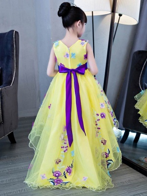 Cute A-Line Hi-Lo V-Neck Appliques Flower Girl Dress with Embroidery_3