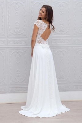 Short-Sleeves Chic Sweep Train Backless White A-line Wedding Dress_3