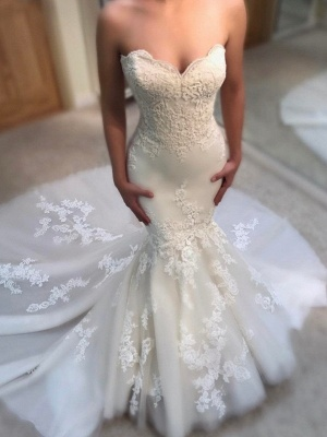 Glamorous Mermaid Wedding Dresses | Sweetheart Appliques Bridal Gowns_1