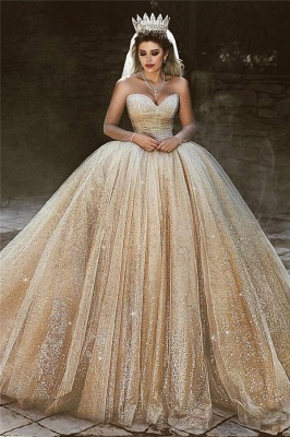 Luxury Sparkling Gold Wedding Dresses | Sequins Princess Ball Gown Royal Bridal Gowns