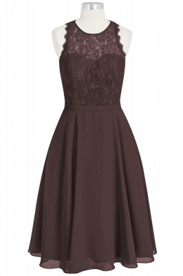 A Line Chiffon Lace Round Neck Open Back Bridesmaid Dresses_4