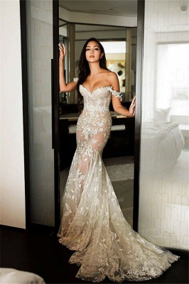 Sexy Off The Shoulder Sweetheart Lace Mermaid Wedding Dresses_1