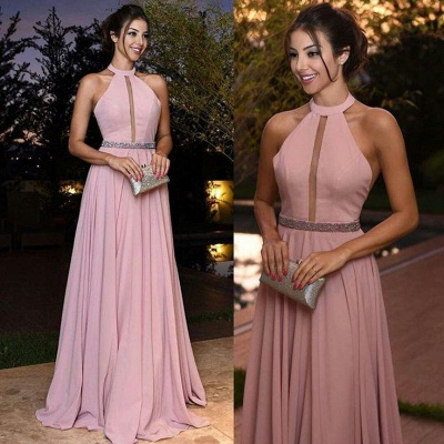 Elegant Pink Prom Dresses Halter Neck A-line Evening Gowns_4