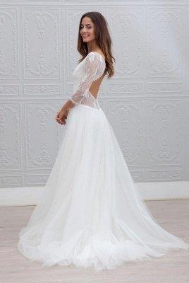 Elegant V-neck Sweep Train Backless A-line Wedding Dress_3