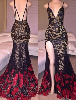 Mermaid Side-Slit Lace Black Spaghettis-Straps Red Prom Dresses_2