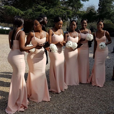 Chic Straps Pink Bridesmaid Dresses | Sleeveless Mermaid Wedding Party Dresses_3