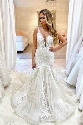 Straps Plunging V Neckline Applique Fit And Flare Mermaid Wedding Dresses_1