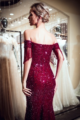 Sparkly Burgundy Crystal Off-the-Shoulder Prom Dress | 2019 Mermaid Evening Dress with Tassels_4