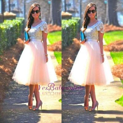 A-Line Short-Sleeves Lace  Tea-Length Homecoming Dress_1