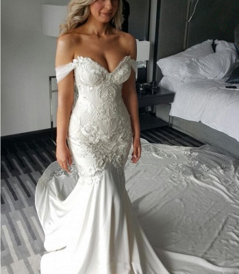Exquisite Off-the-shoulder Train Lace-Appliques Mermaid Wedding Dress_4