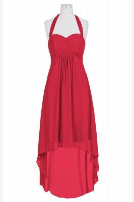 A Line Chiffon Hi-Lo Halter Bridesmaid Dresses with bowknot_4