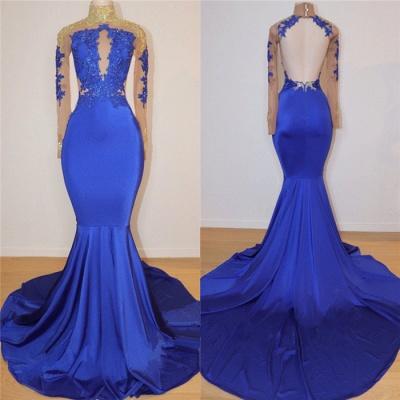 Royal Blue Long Sleeves Keyhole Open Back Sexy Mermaid Prom Dresses_3