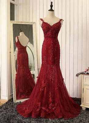 2019 Burgundy Mermaid Prom Dresses Straps Lace Appliques Open Back Evening Gowns_2