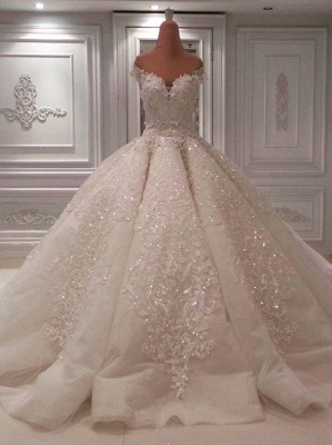Gorgeous Off The Shoulder Sweetheart Applique Beaded Ball Gown Wedding Dresses_3
