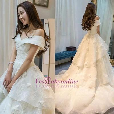 Princess Off-the-Shoulder Floor-Length Ruffles Glamorous Lace Wedding Dress_1