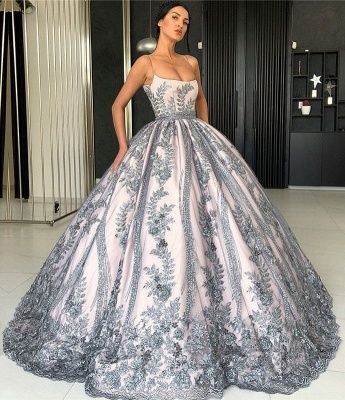 Spaghetti Straps Lace Appliques Evening Dresses | Luxury Princess Ball Gown Prom Dress 2019_1
