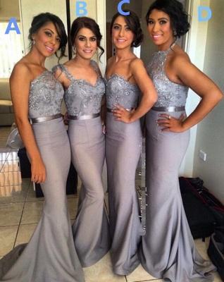 Ruffle  Draped Sweep-Train Appliques Mermaid Grey  Sash Sequined Bridesmaid Dresses_3