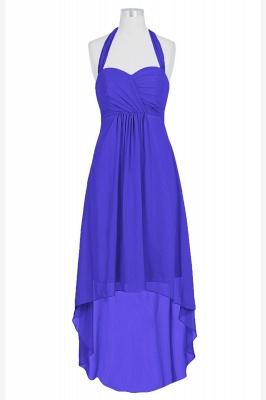 A Line Chiffon Hi-Lo Halter Bridesmaid Dresses with bowknot_1