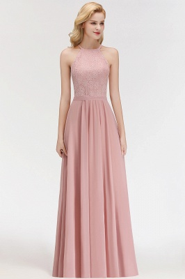 Elegant A-Line Chiffon Bridesmaid Dresses | Halter Lace Wedding Party Dresses_5