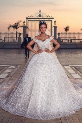 Off the Shoulder Sweetheart Ball Gown Wedding Dresses with Exquisite Lace_8