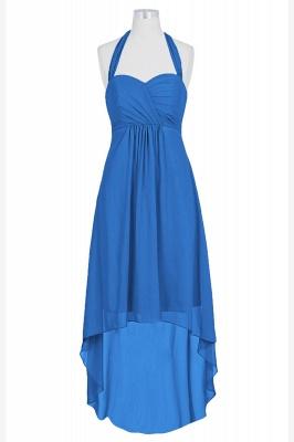 A Line Chiffon Hi-Lo Halter Bridesmaid Dresses with bowknot_2