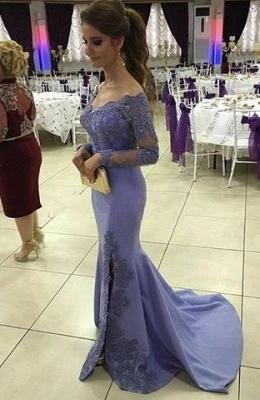 2019 Off-the-Shoulder Prom Dresses Side-Slit Appliques Mermaid Long Sleeves Lavender Prom Dress_3