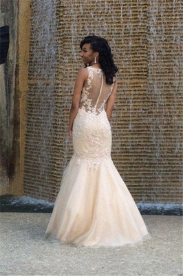 2019 Gorgeous Sexy Mermaid Prom Dresses Sleeveless Lace Appliques Appliques Evening Gowns_4