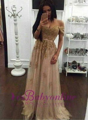 Off-the-Shoulder Prom Dresses Gold Appliques Long Sexy A-line Evening Gowns_1