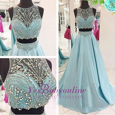 Long Blue Beaded Two-Piece Elegant Crystals Prom Dresses_1