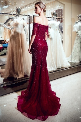 Sparkly Burgundy Crystal Off-the-Shoulder Prom Dress | 2019 Mermaid Evening Dress with Tassels_5